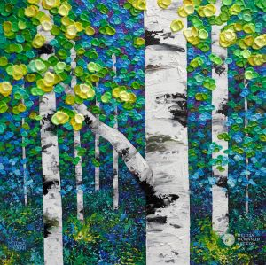 Colorful green forest landscape painting of aspen trees and birch trees in the summer Giclee art print on canvas by contemporary abstract landscape artist Melissa McKinnon painted with palette knife and impasto texture.
