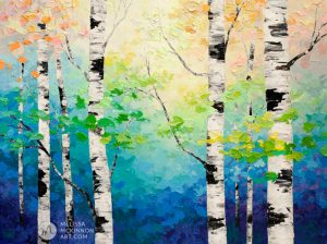 Colourful forest landscape painting of aspen trees and birch trees giclee art print on canvas by contemporary abstract landscape artist painter Melissa McKinnon painted with palette knife and impasto texture.