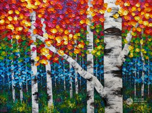 Autumn forest landscape painting of aspen trees and birch trees giclee art print on canvas by contemporary abstract landscape artist painter Melissa McKinnon