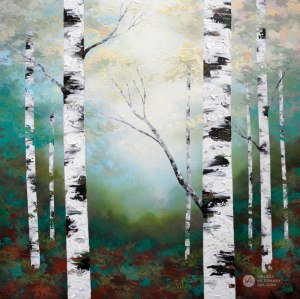 Ethereal forest landscape painting of birch trees and aspen trees in sunlight Giclee art print on canvas by contemporary abstract landscape artist Melissa McKinnon painted with palette knife and impasto texture.