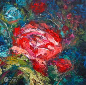 Fine art floral painting on canvas of red rose flower bouquet giclee art print by contemporary abstract botanical artist painter Melissa McKinnon painted with palette knife and impasto texture title 'One in a Million'.