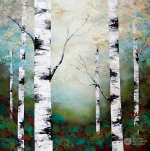 Forest landscape painting of birch trees and aspen trees in sunlight Giclee art print on canvas by contemporary abstract landscape artist Melissa McKinnon painted with palette knife and impasto texture.