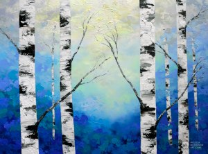 Blue forest landscape painting of aspen trees and birch trees in sunlight Giclee art print on canvas by contemporary abstract landscape artist Melissa McKinnon painted with palette knife and impasto texture.