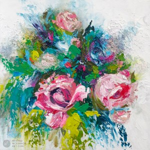 Fine art flower painting on canvas of roses and peony floral bouquet giclee art print by contemporary abstract botanical artist painter Melissa McKinnon painted with palette knife and impasto texture title 'Summer Disco'.