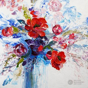Fine art flower painting on canvas of red roses poppy and peony floral bouquet giclee art print by contemporary abstract botanical artist painter Melissa McKinnon painted with palette knife and impasto texture title 'The Bravery of Enthusiasm'.