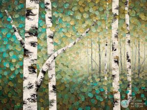 Green forest landscape painting of aspen trees and birch trees giclee art print on canvas by contemporary abstract landscape artist painter Melissa McKinnon